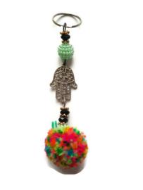 Gelukshandje - multicolor pompon   minty green pearls