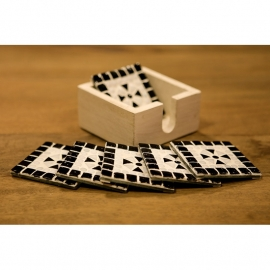 Onderzetters glasmozaiek - zwart/wit