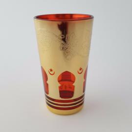 Marokkaans theeglas | Mina - rood/goud