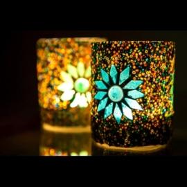 Waxinehouder - cilinder glas & kralen | multicolor