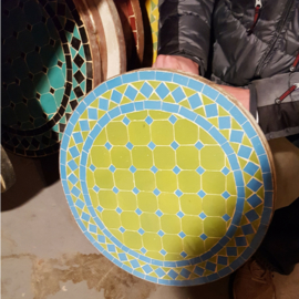 Mozaiek tafelblad - 50 cm | groen/lichtblauw