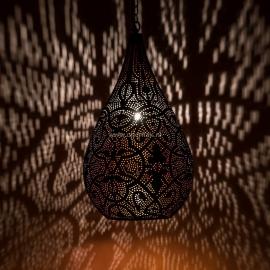 Hanglamp filigrain - druppel zwart/vintage koper