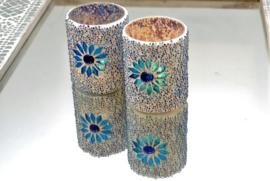 Waxinehouder - cilinder glas & kralen | blauw