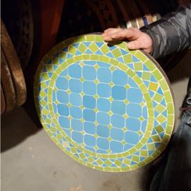 Mozaiek tafelblad - 50 cm | lichtblauw/groen