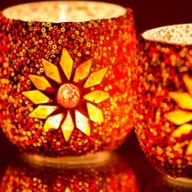 Waxinehouder - rood | glas & kralen