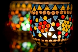 Waxinehouder - grijs/multicolor | glasmozaiek