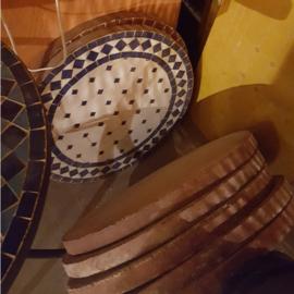 Mozaiek tafelblad - 50 cm | wit/blauw