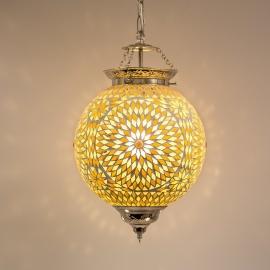 Hanglamp L - Glasmozaiek | bruin/beige | Gerserveerd fam. Huyser