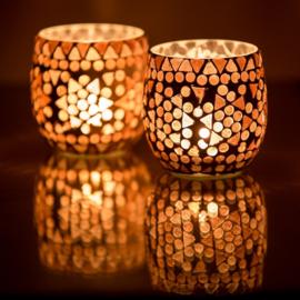 Waxinehouder - paars fine | glasmozaiek