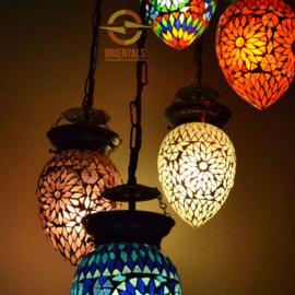 Hanglamp - 5 lampen | Multicolor Mozaiek