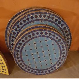 Mozaiek tafelblad - 50 cm | turquoise/blauw