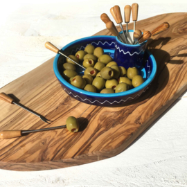 AzorA | Olijvenbord met pinchohouder - blauw