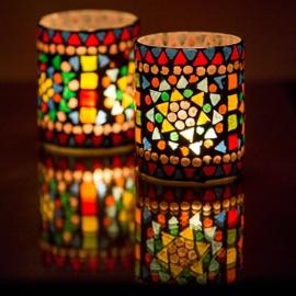 Waxinehouder - cilinder glasmozaiek | multicolor