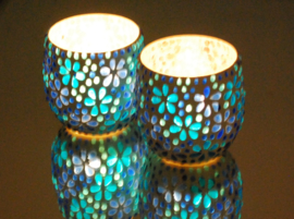 Waxinehouder - blauw | flower power
