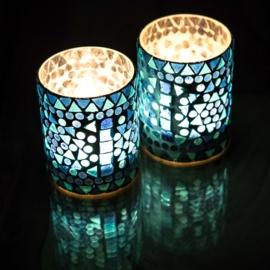Waxinehouder - cilinder glasmozaiek | blauw