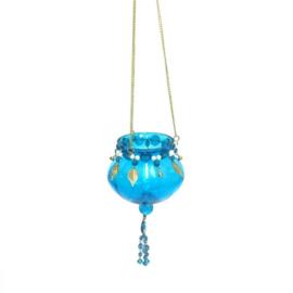 Theelichthouder - hangend | turquoise blue