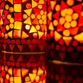 Waxinehouder - cilinder glasmozaiek | rood