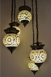 Hanglamp - 5 bollen | Wit Mozaiek