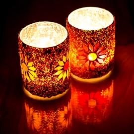 Waxinehouder - cilinder glas & kralen | rood