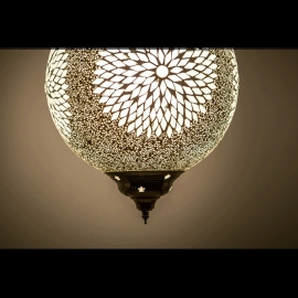 Hanglamp L - Glasmozaiek & kralen | wit