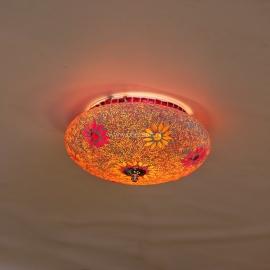 Plafonnière S - Glasmozaiek & kralen   rood