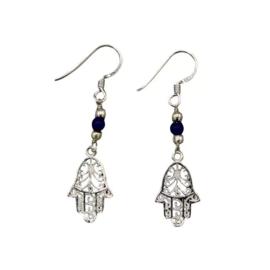 Oorbellen - Fatimahandje | Zilver & Lapis lazuli