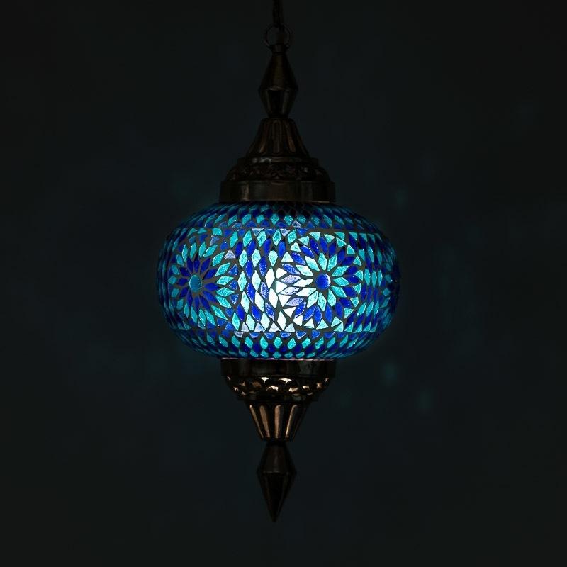 Hanglamp - Pompoen | Glasmozaiek - blauw