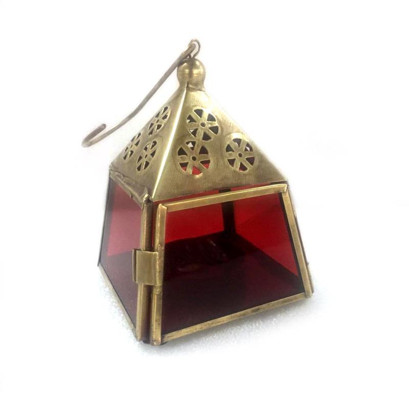 Lantaarn - goud | Madras - rood
