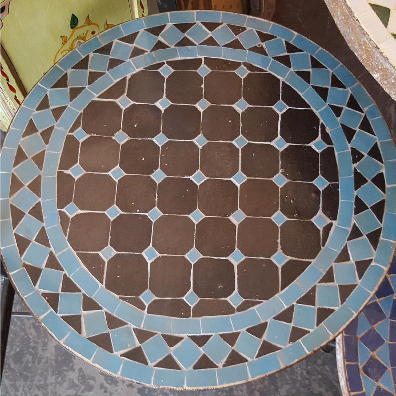 Mozaiek tafelblad - 50 cm | zwart/blauw