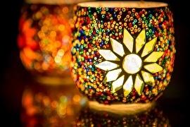 Waxinehouder - multicolor | glas & kralen