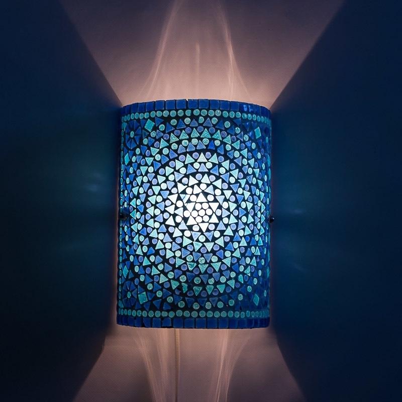 Wandlamp - Glasmozaiek | blauw