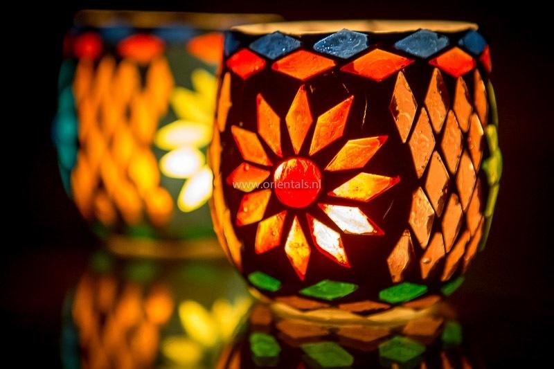 Waxinehouder - multicolor | glasmozaiek
