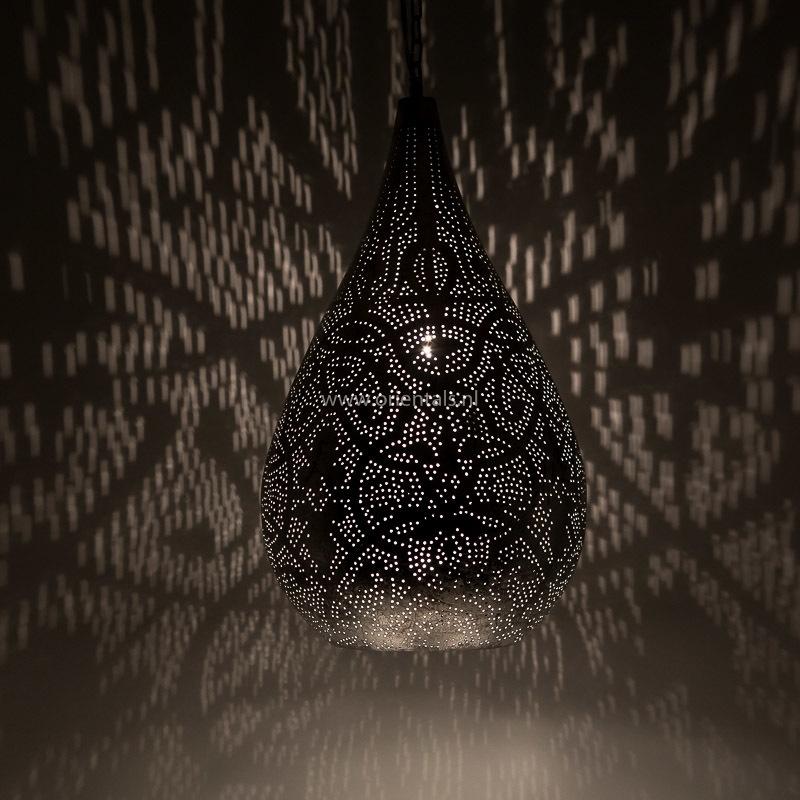 Hanglamp filigrain - druppel vintage zilver