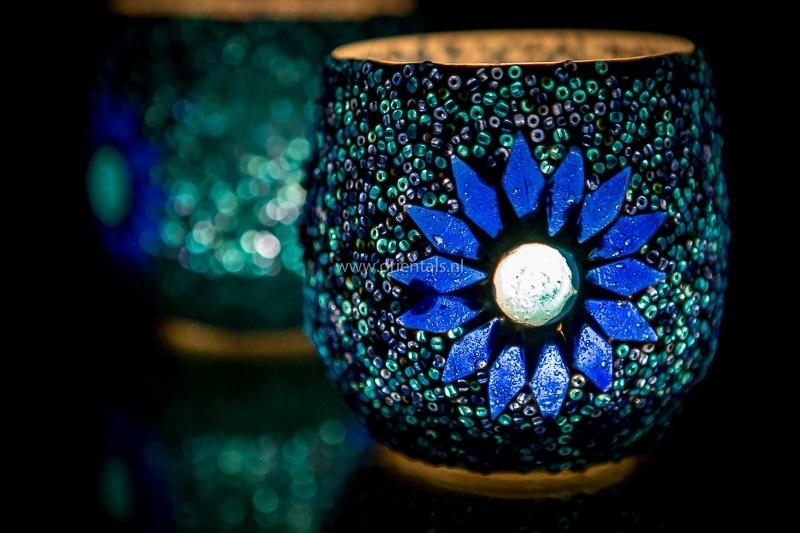 Waxinehouder - blauw | glas & kralen