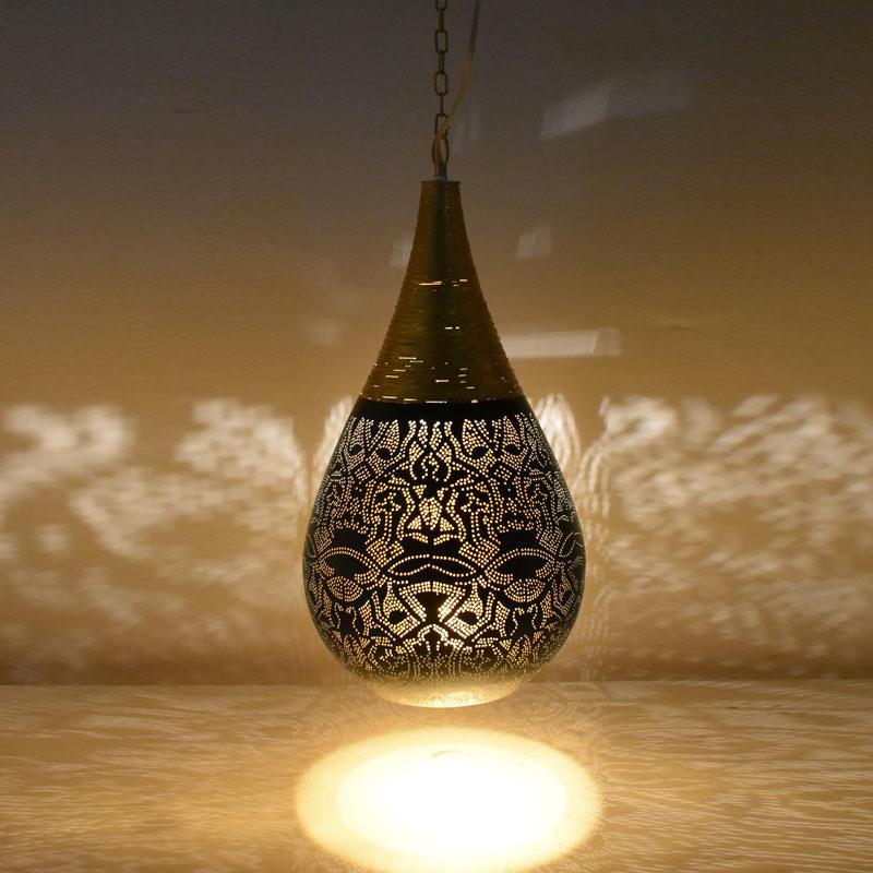 Hanglamp filigrain - wire | zwart/goud