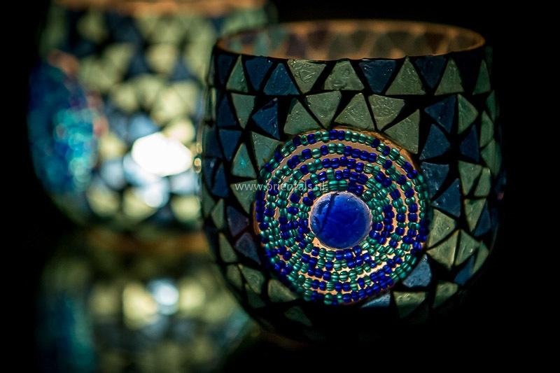 Waxinehouder - blauw | kralen & glas
