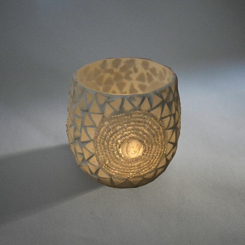 Waxinehouder - wit | kralen & glas