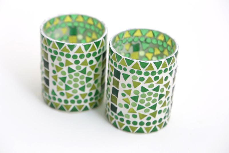 Waxinehouder - cilinder glasmozaiek | groen