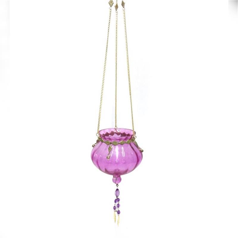 Theelichthouder - hangend   roze