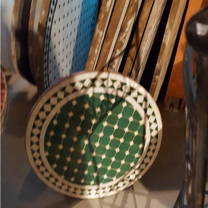 Mozaiek tafelblad - 50 cm | groen/wit
