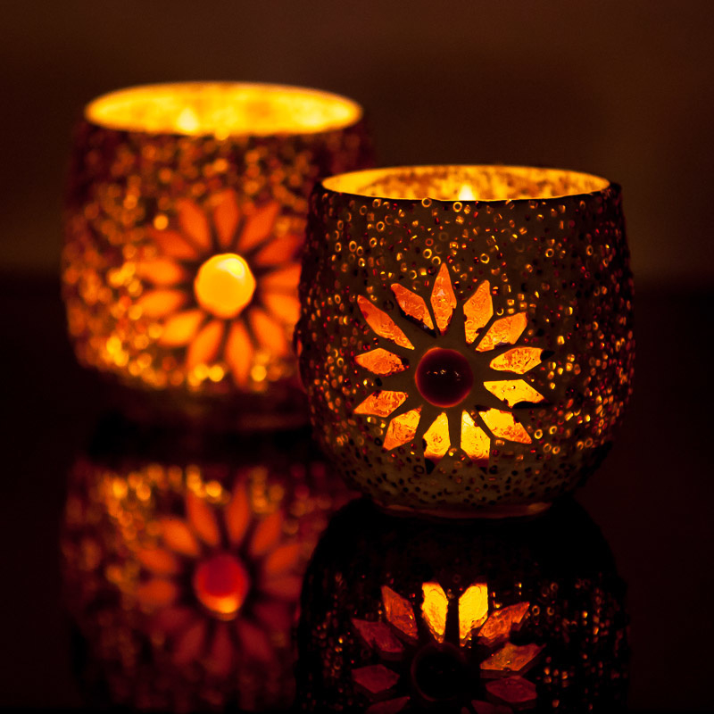 Waxinehouder - bruin | glas & kralen