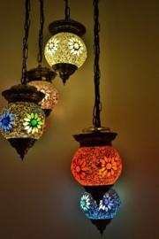 Hanglamp - 5 bollen | Multicolor Mozaiek & Kralen