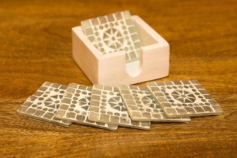 Onderzetters glasmozaiek - wit