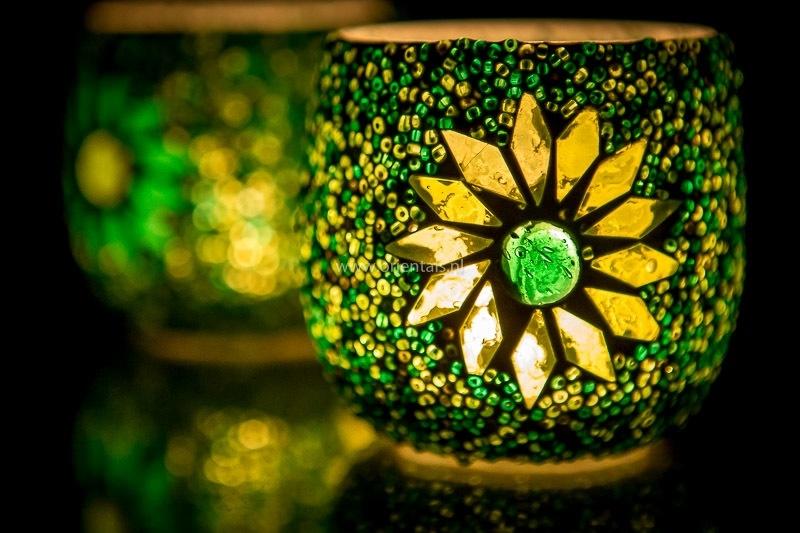 Waxinehouder - groen - glas & kralen