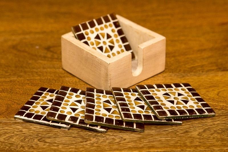 Onderzetters glasmozaiek - bruin