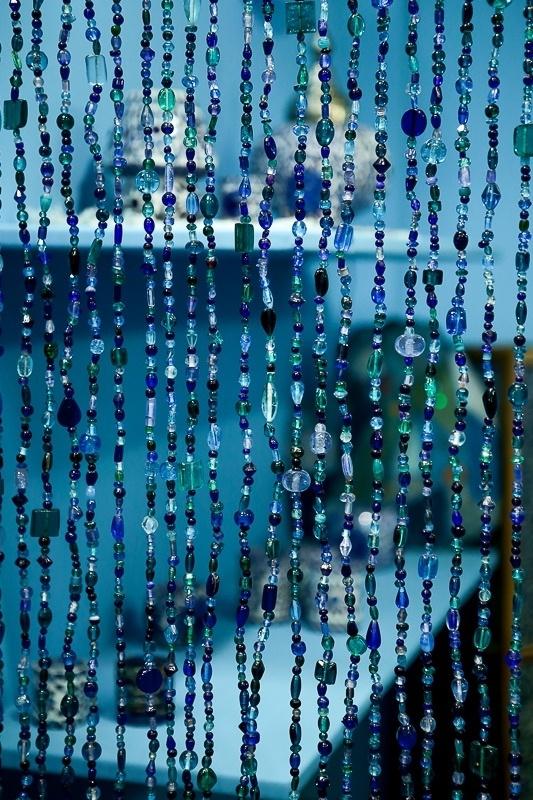Glaskralengordijn | blauw