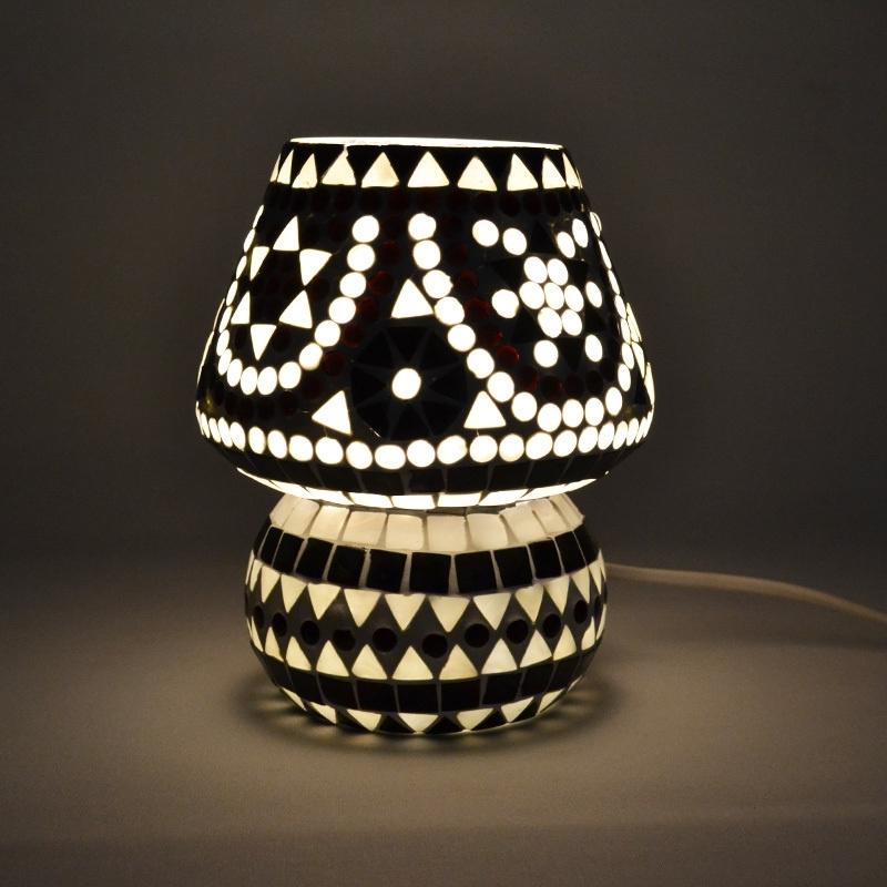 Schemerlamp - Glasmozaiek | zwart wit