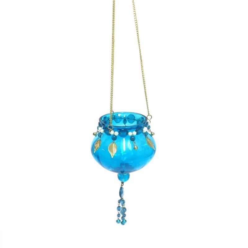 Theelichthouder - hangend   turquoise blue