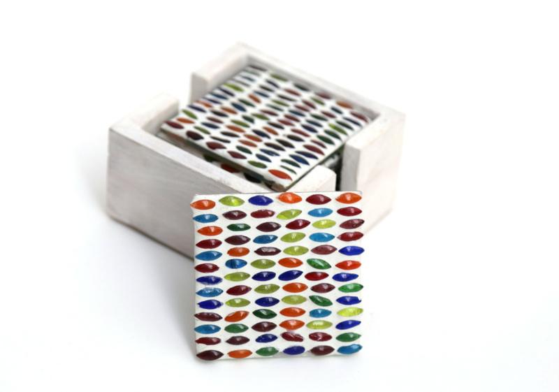 Onderzetters glasmozaiek - multicolor   seeds