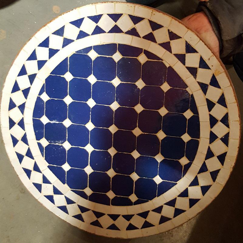 Mozaiek tafelblad - 50 cm | blauw/wit